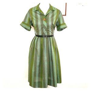 1950s-1960s green striped shirtdress